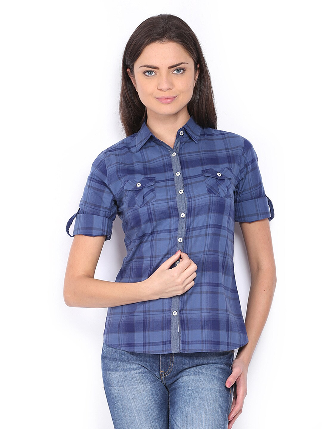 Buy Lee Cooper Women Blue Checked Casual Shirt 320
