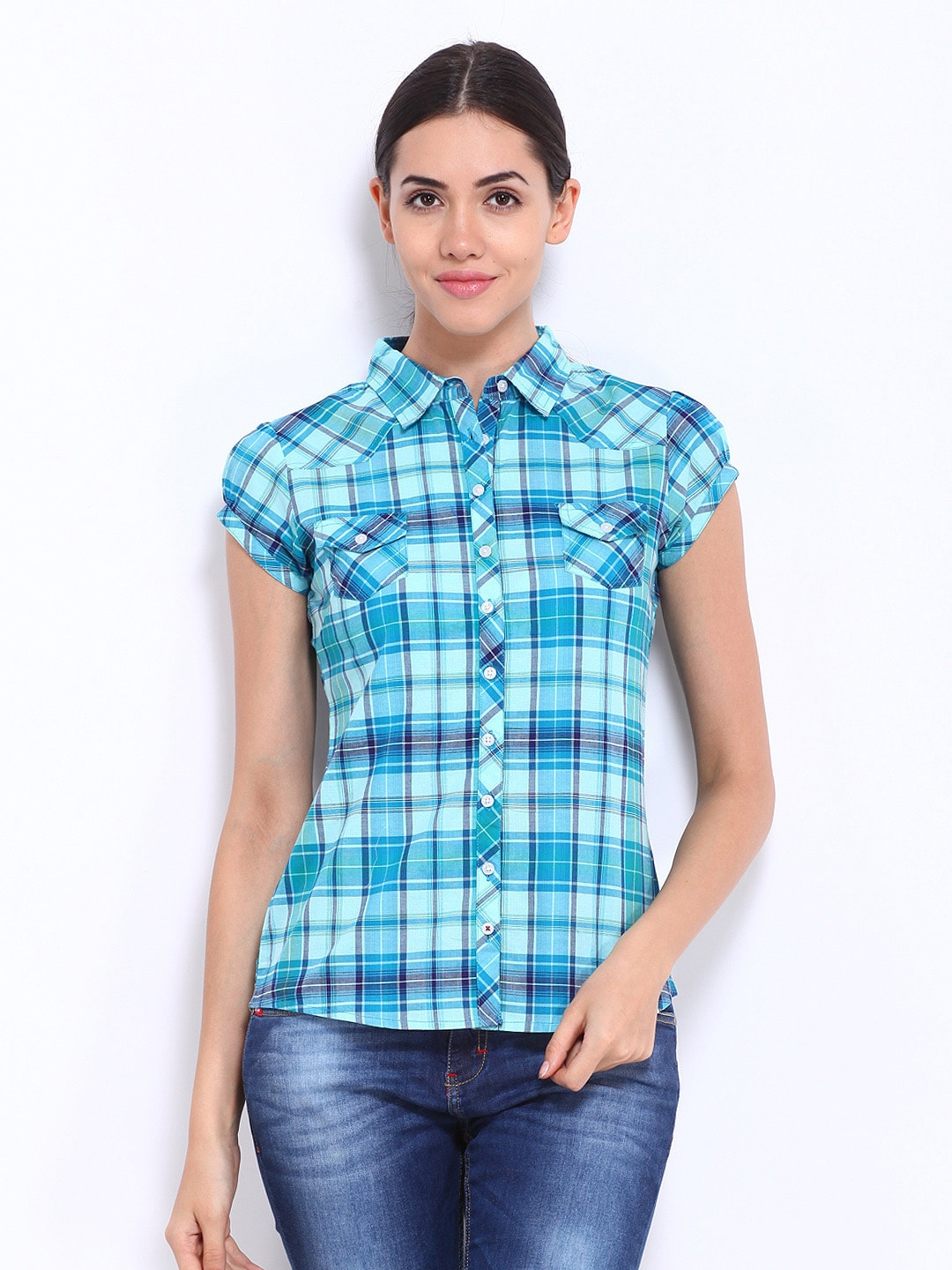 Buy lee cooper women blue checked shirt 320 apparel for Womens green checked shirt