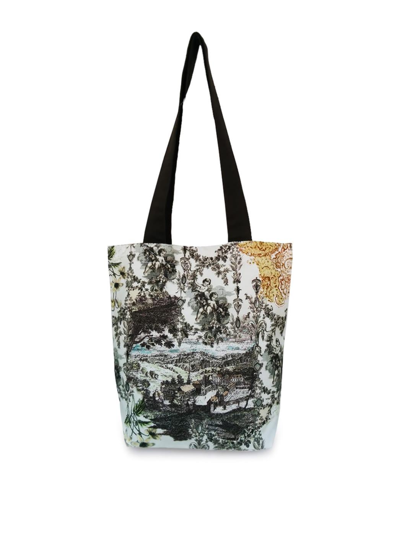 Lemon Lemon Trunk Women White & Grey Printed Tote Bag (Multicolor)