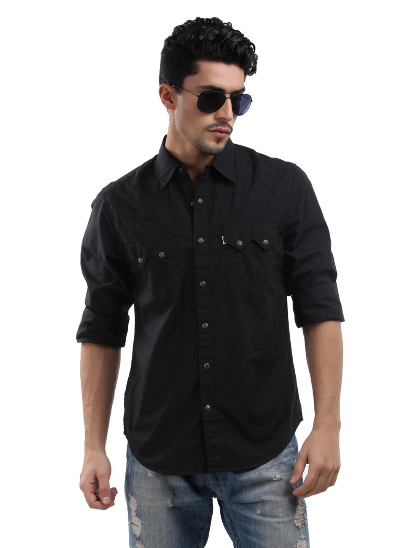 Buy levis men black sawtooth western shirt shirts for for Mens black levi shirt
