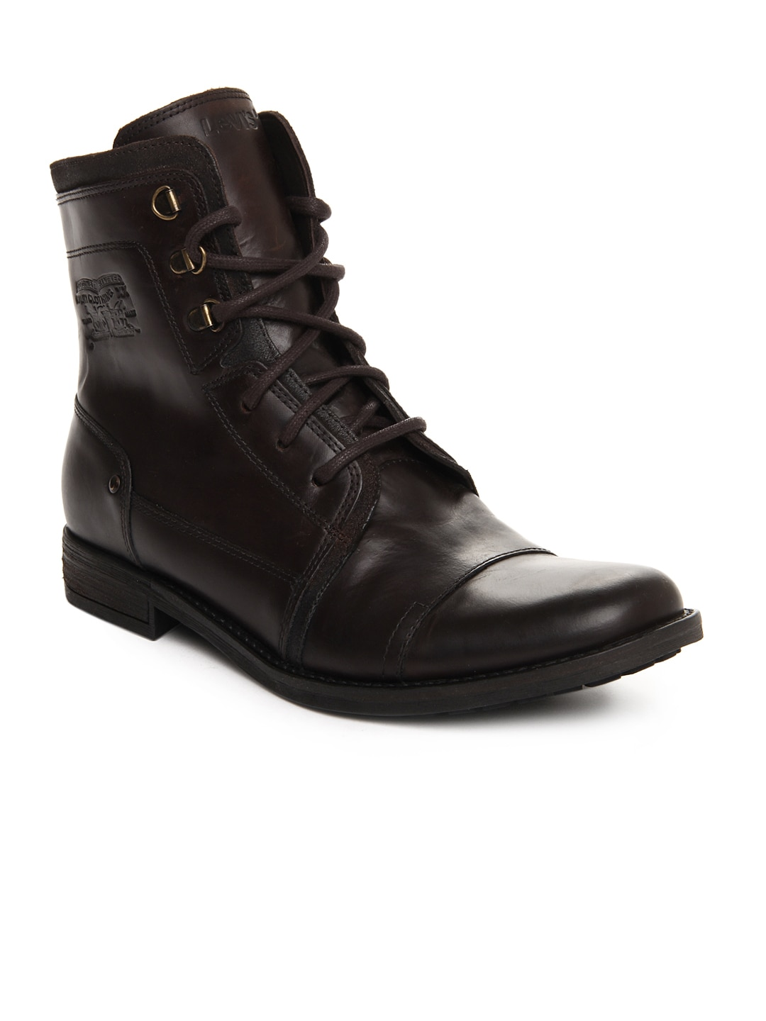 levis coffee brown leather boots
