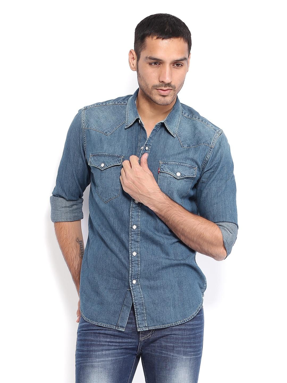 Buy levis men denim blue slim fit casual shirt 320 for Buy denim shirts online