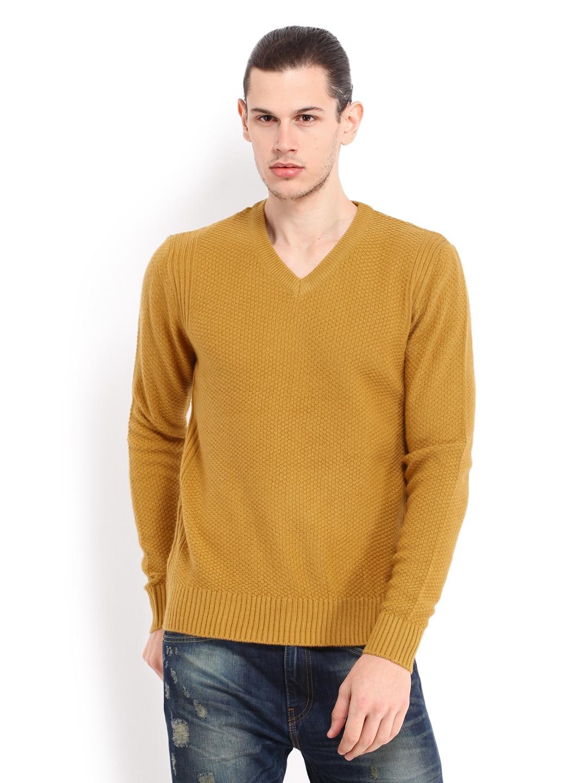 buy levis men mustard yellow wool blend sweater 368