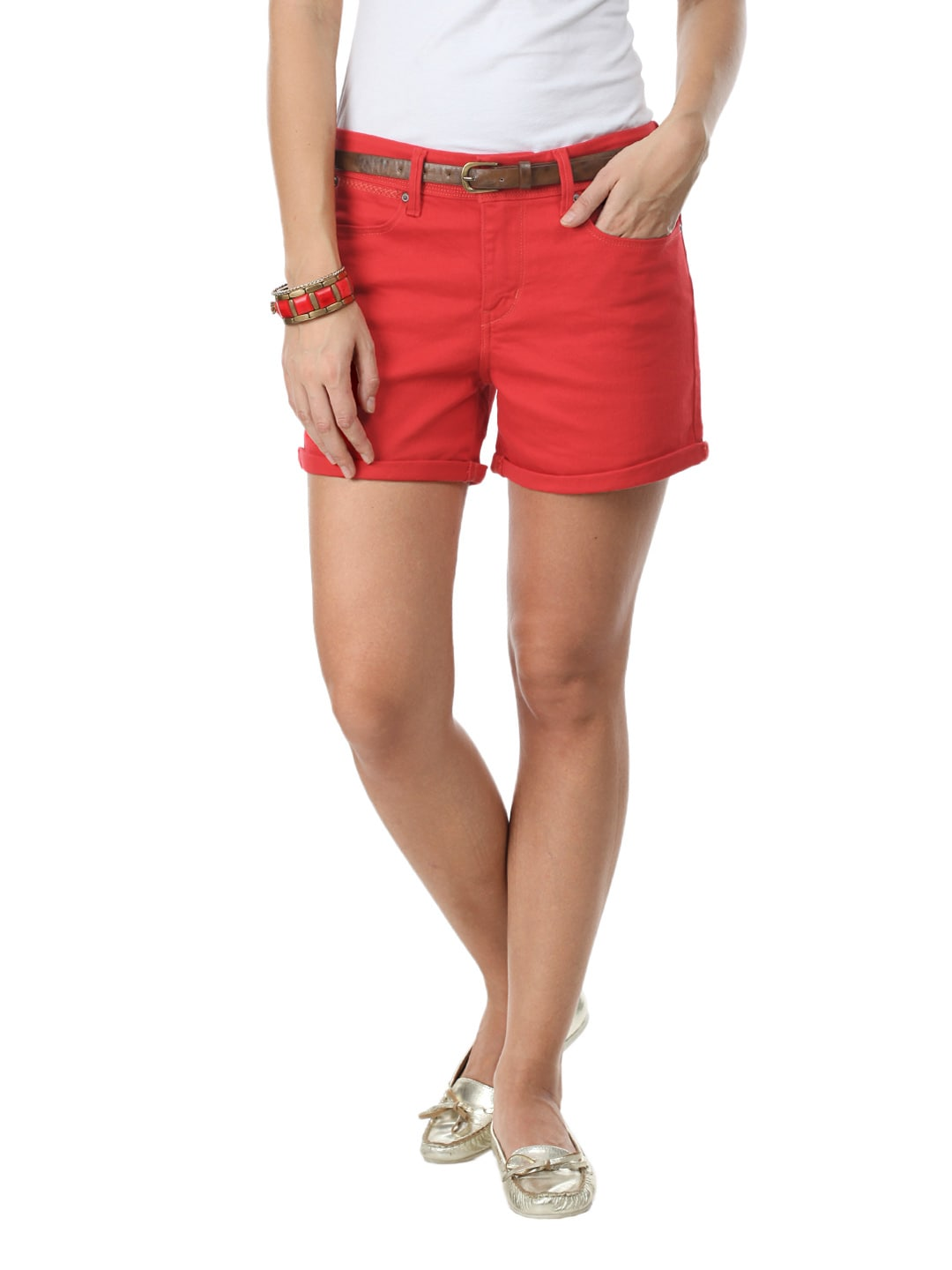 Buy Levis Women Standard Metro Red Shorts - 303 - Apparel ...