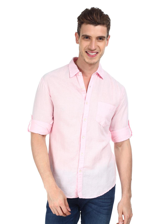 Buy locomotive men light pink linen blend slim fit casual for Mens light blue linen shirt