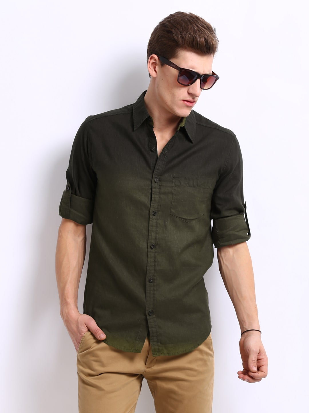 Olive Green Shirt Mens
