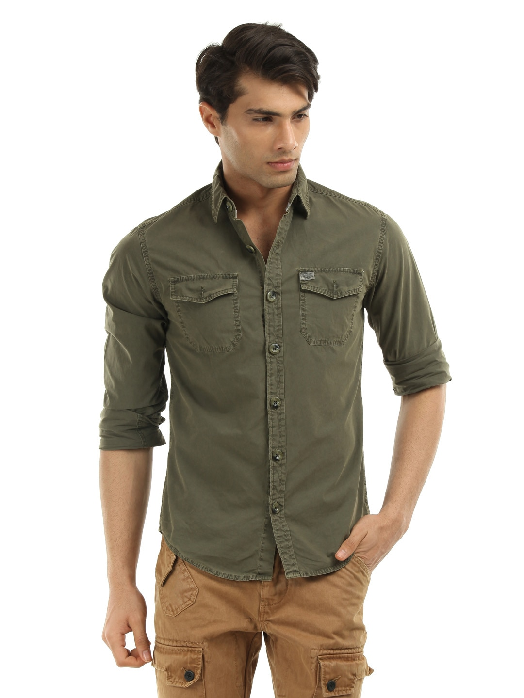 Olive Green Shirts For Men images