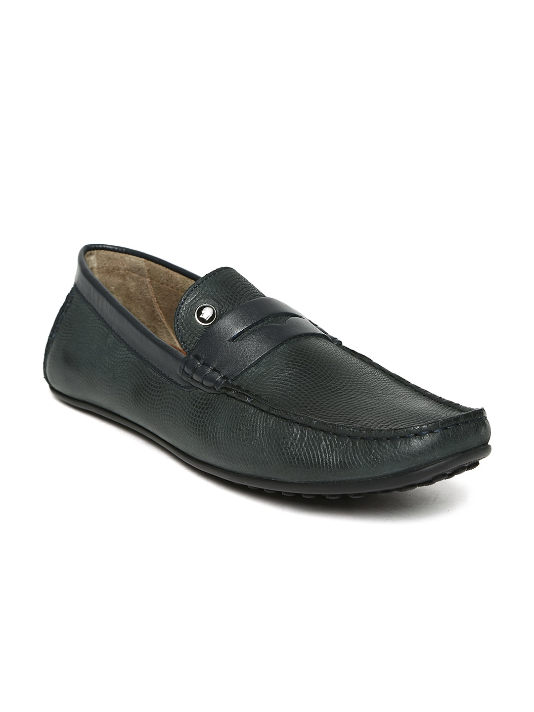 Louis Philippe Men Grey Leather Loafers