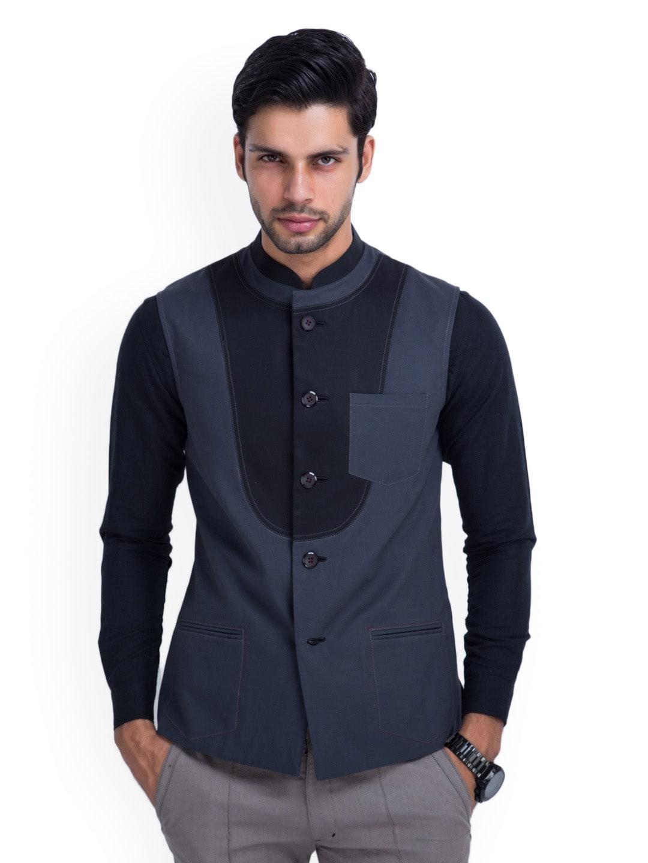 MR BUTTON Men Grey Nehru Jacket