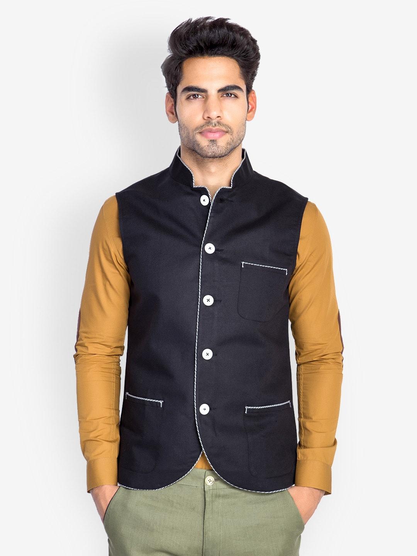 MR BUTTON Men Black Slim Fit Linen Nehru Jacket