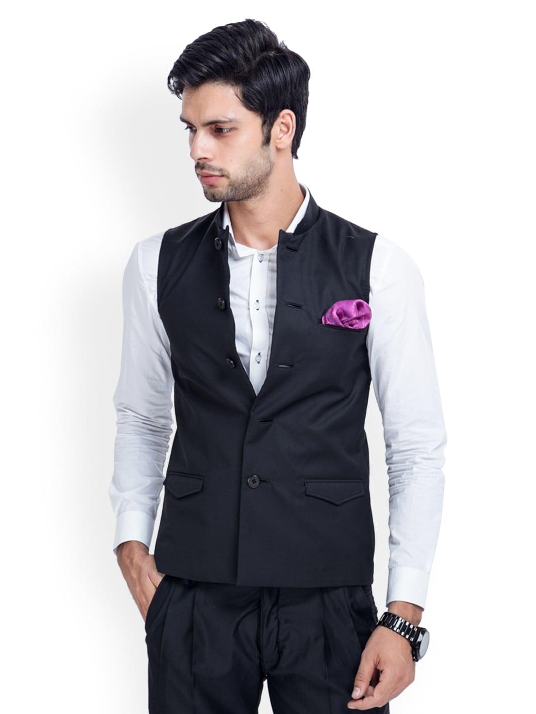 MR BUTTON Men Black Sleeveless Slim Fit Nehru Jacket