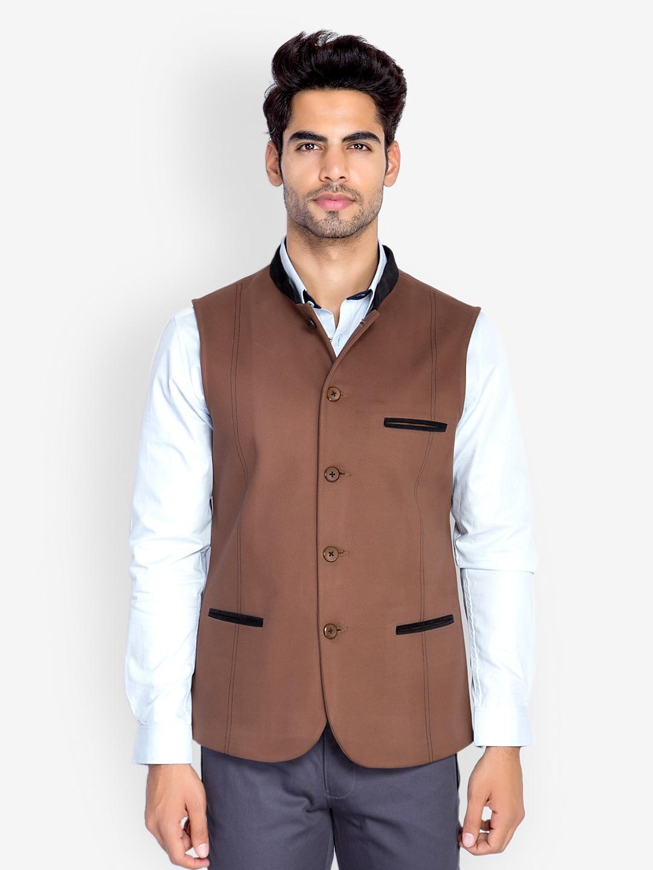 MR BUTTON Men Brown Sleeveless Slim Fit Nehru Jacket