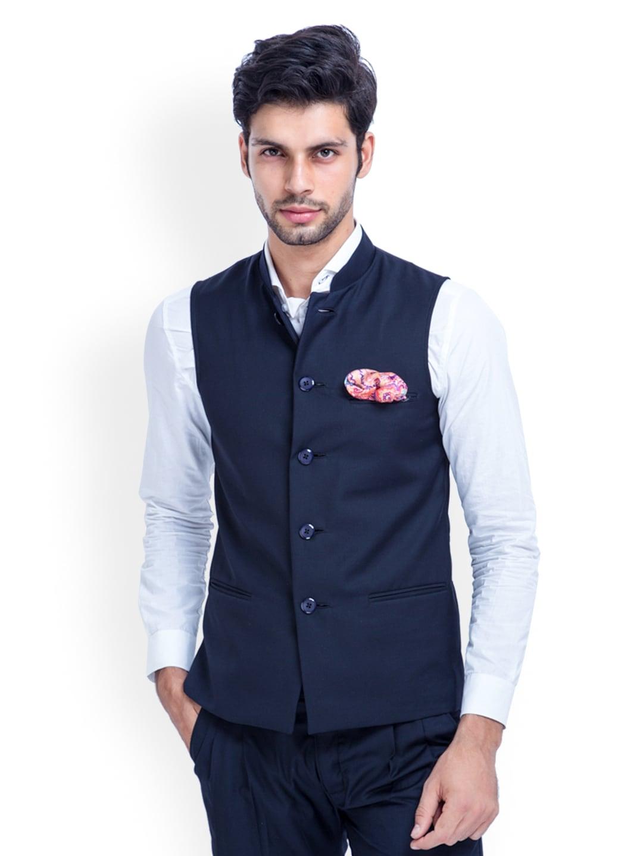 MR BUTTON Men Blue Sleeveless Slim Fit Nehru Jacket
