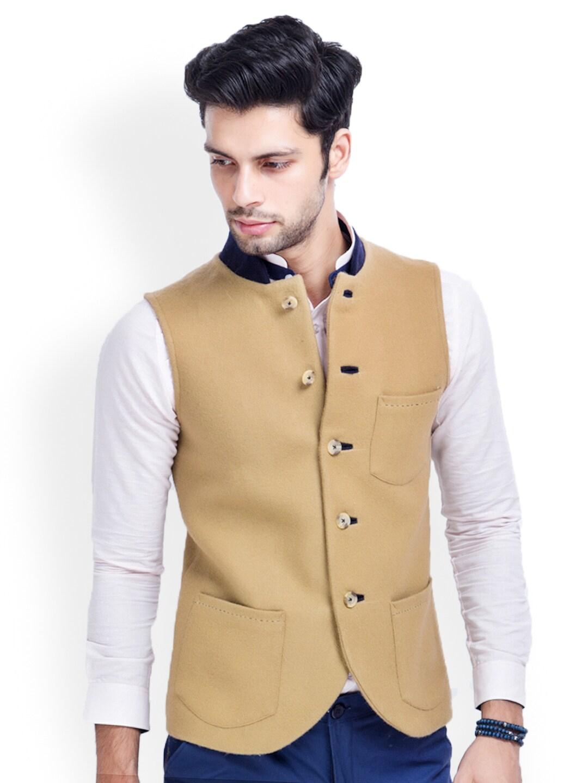 MR BUTTON Men Beige Woollen Slim Fit Nehru Jacket