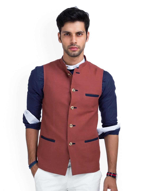 MR BUTTON Men Rust Brown Linen Nehru Jacket