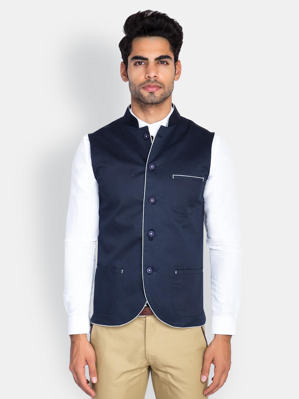 MR BUTTON Men Navy Blue Sleeveless Slim Fit Nehru Jacket