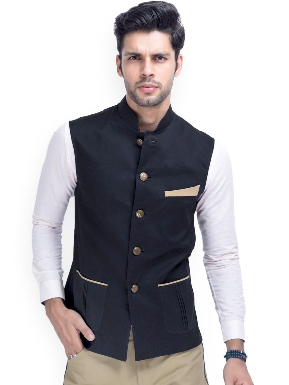 MR BUTTON Men Black Nehru Waistcoat
