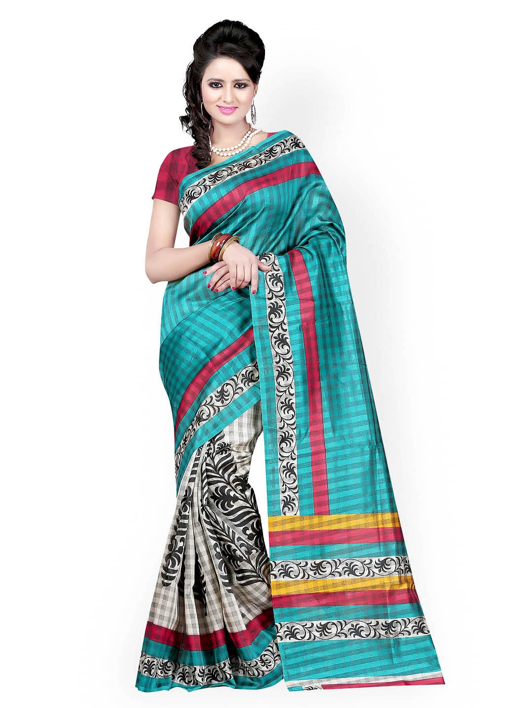 Majestic Silk Turquoise Blue & White Bhagalpuri Art Silk Printed Saree (multicolor)