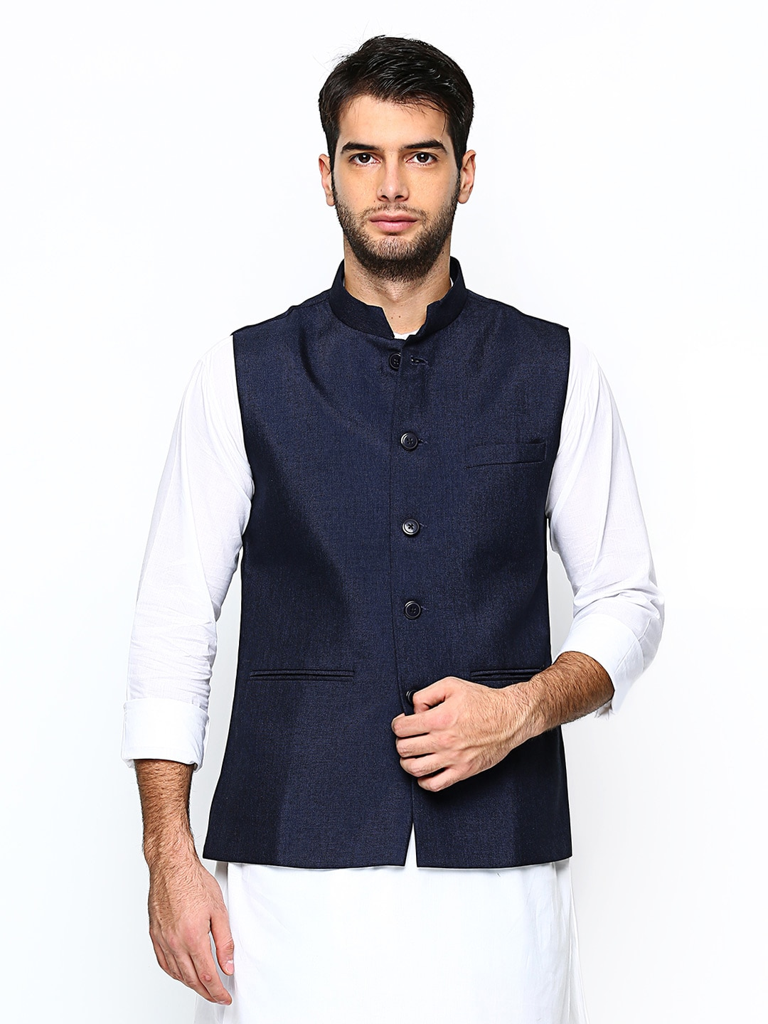 Manyavar Navy Blue Nehru Jacket