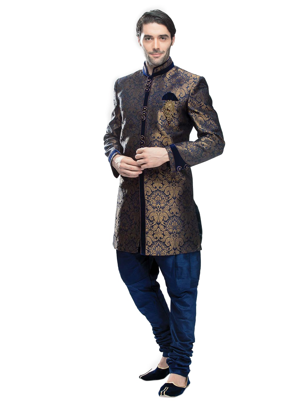 Buy Manyavar Men Blue Sherwani