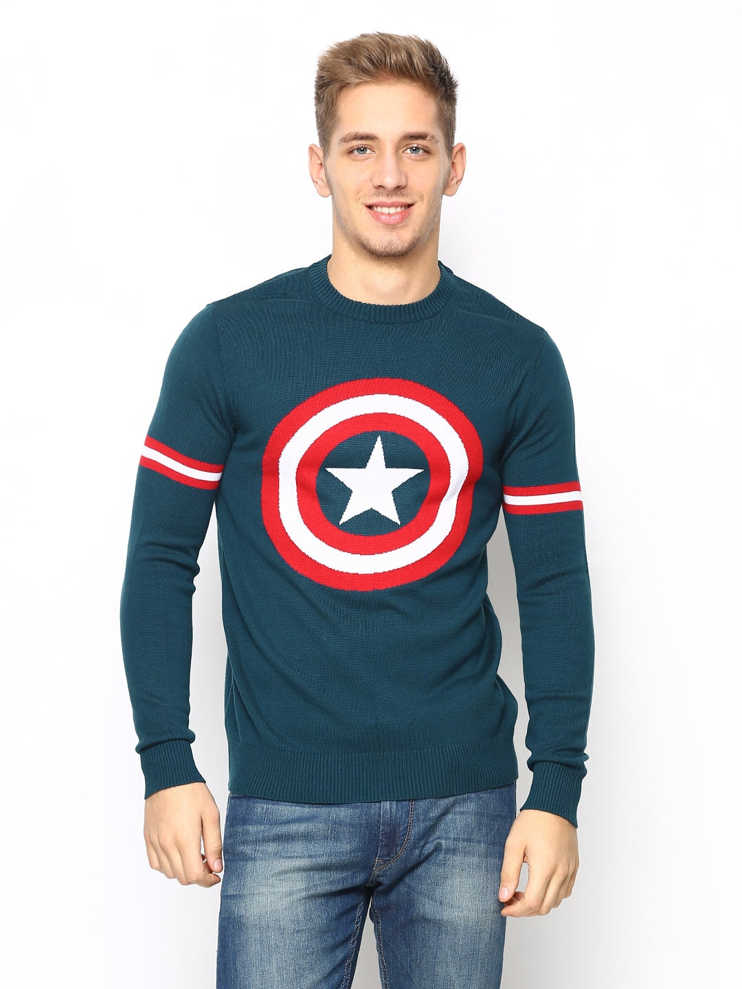 Marvel Marvel Men Teal Blue Sweater (Cyan)