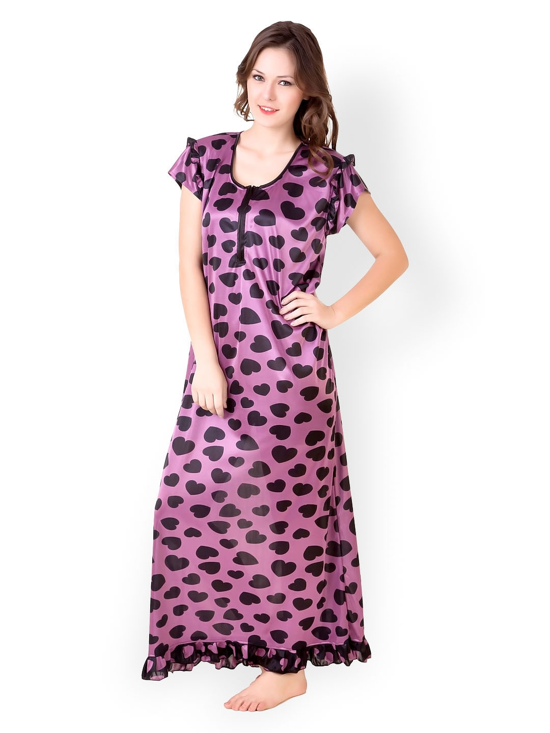 Masha Women Purple Printed Maxi Nightdress NT41-138 df0ec524f