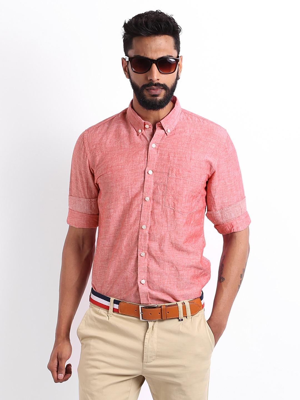Mast & Harbour Men Red Slim Fit Smart-Casual Shirt