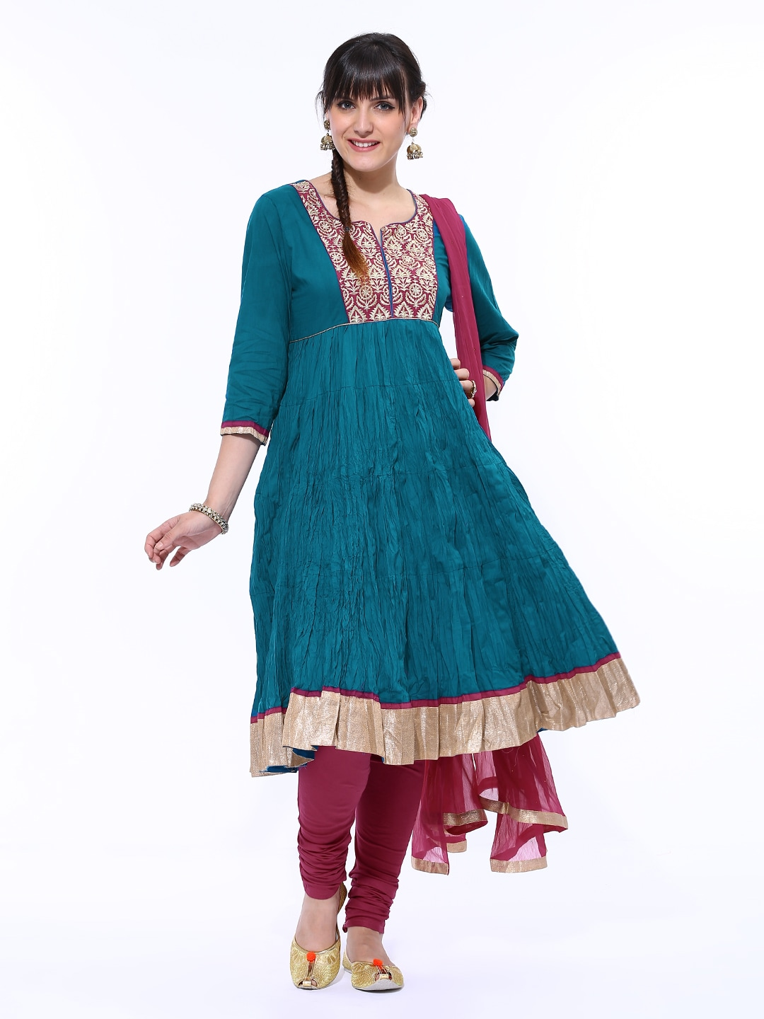 Lifestyle Melange By Lifestyle Women Teal Blue & Magenta Churidar Anarkali Kurta With Dupatta (Multicolor)