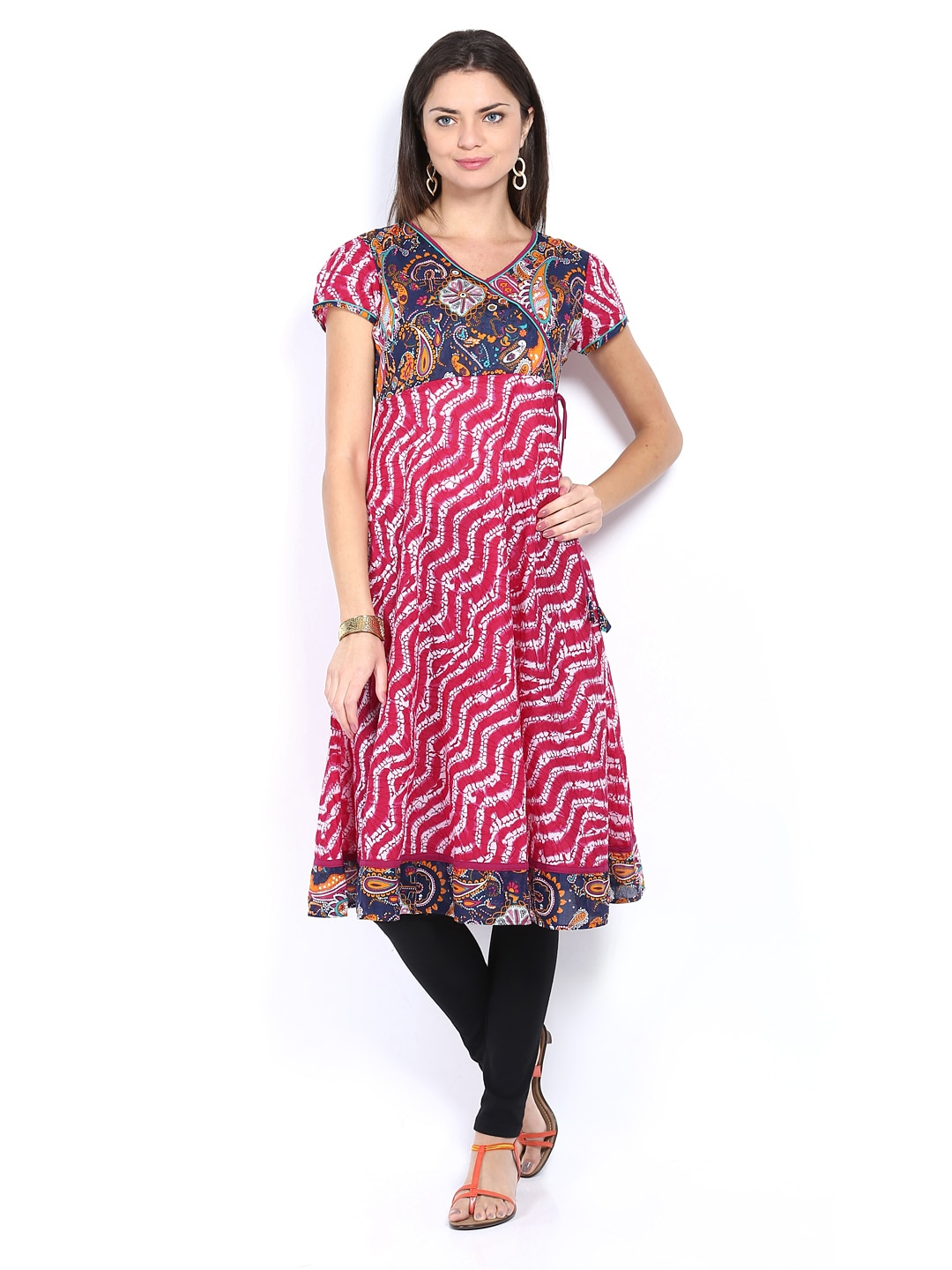 Lifestyle Melange By Lifestyle Women Navy And Pink Printed Kurta (Multicolor)