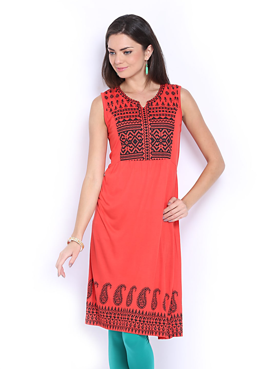 Lifestyle Melange By Lifestyle Rust Red Printed Kurta (Multicolor)