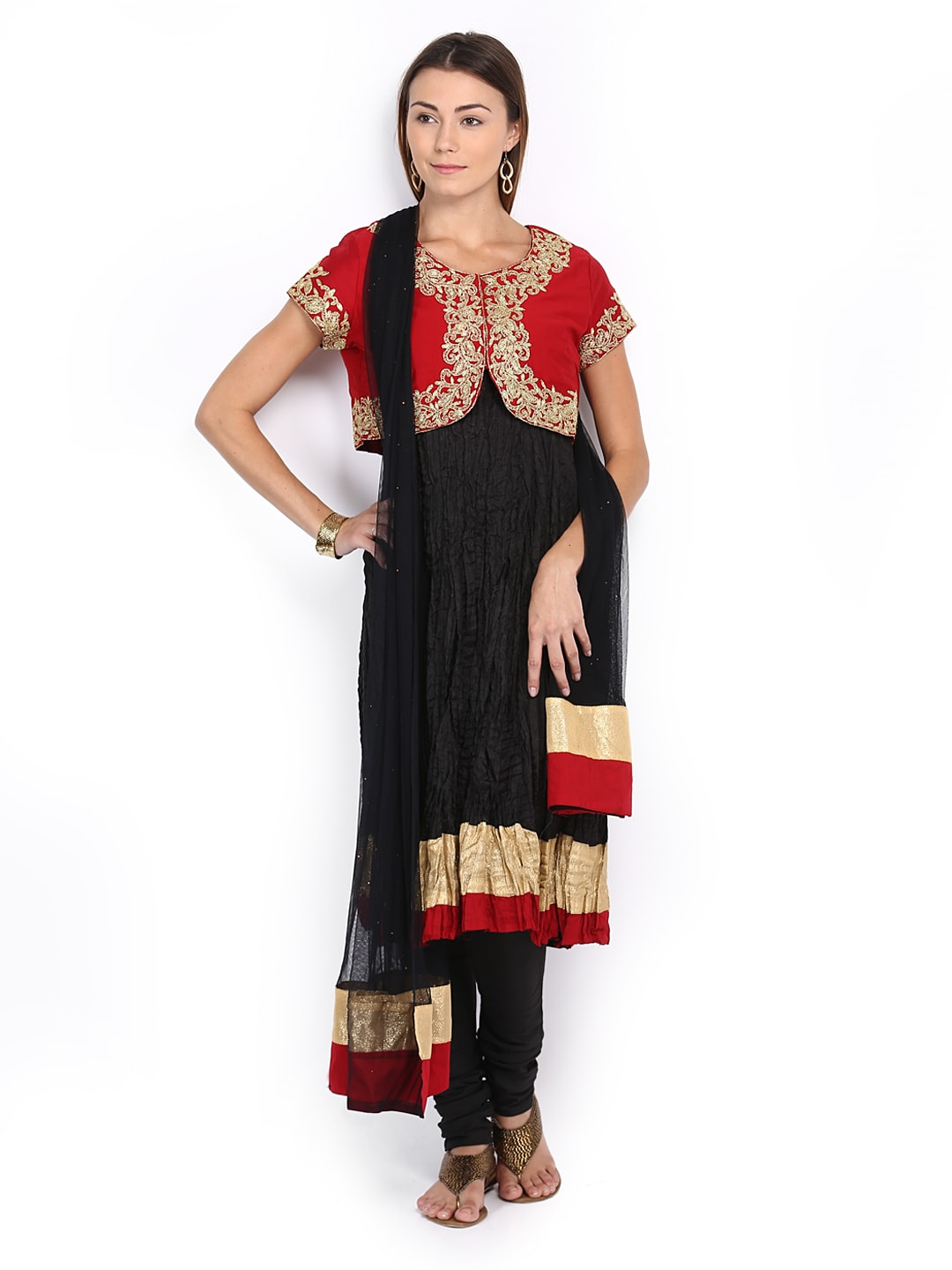 Lifestyle Melange By Lifestyle Women Black Crushed Anarkali Churidar Kurta With Dupatta