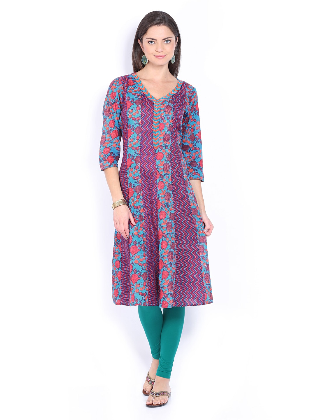 Lifestyle Melange By Lifestyle Women Blue & Red Printed Kurta (Multicolor)