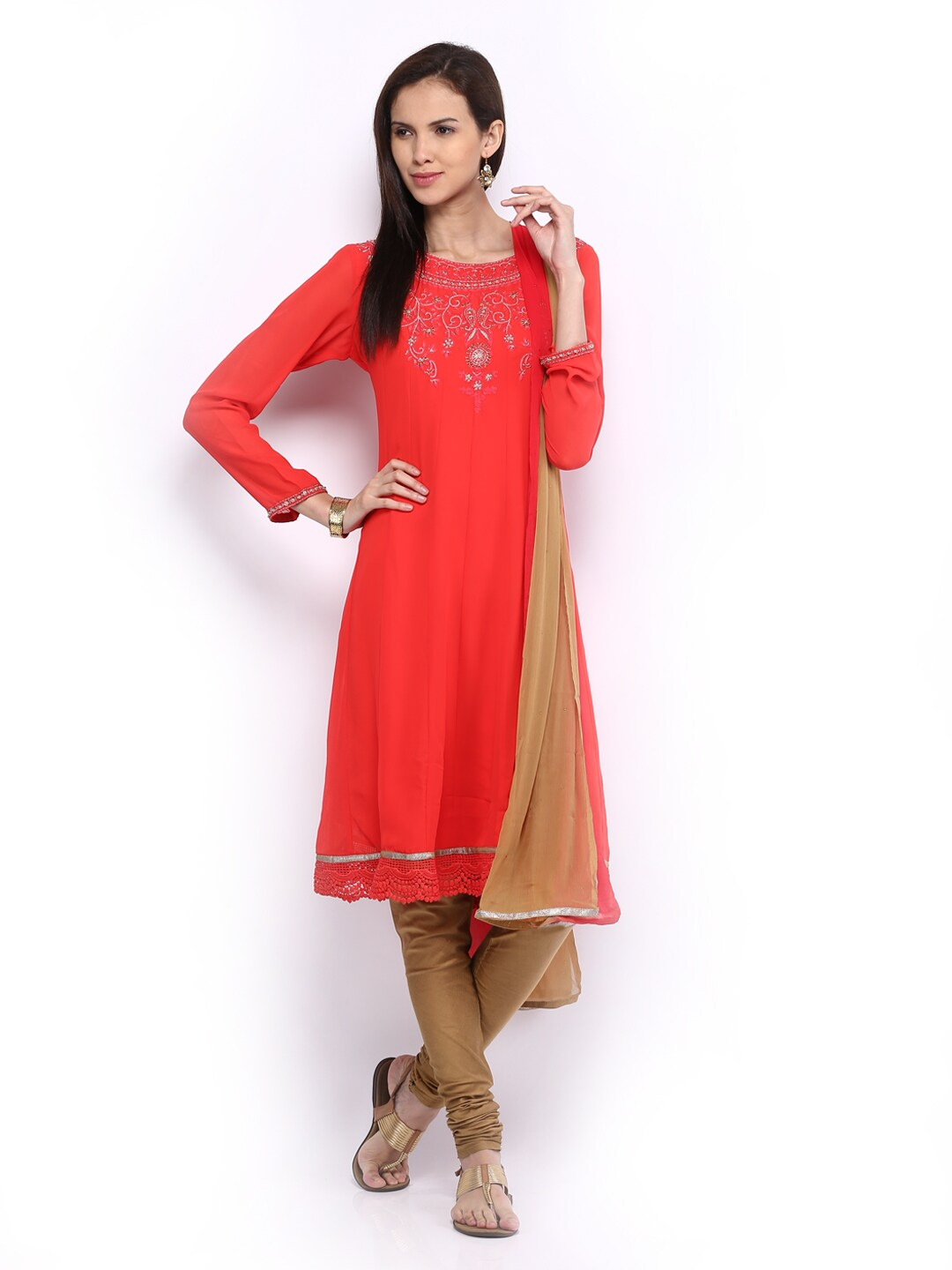 Lifestyle Melange By Lifestyle Women Coral Red & Brown Churidar Kurta With Dupatta (Multicolor)