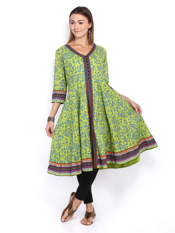 Lifestyle Melange By Lifestyle Women Green & Blue Printed Anarkali Kurta (Multicolor)