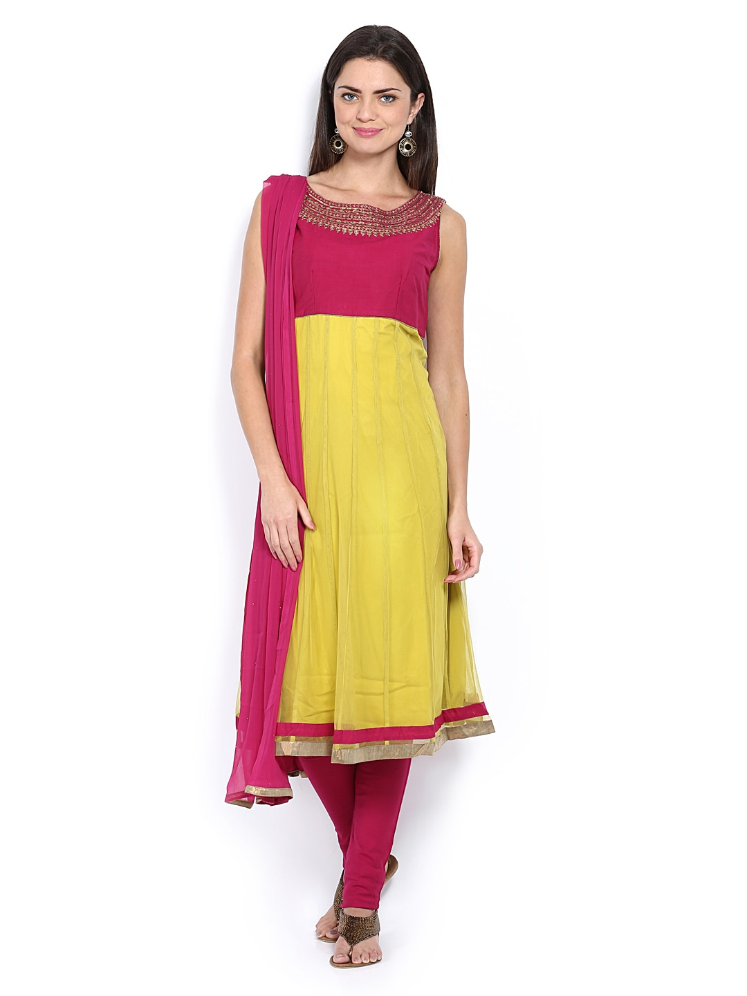 Lifestyle Melange By Lifestyle Women Lime Green & Magenta Anarkali Churidar Kurta With Dupatta (Multicolor)