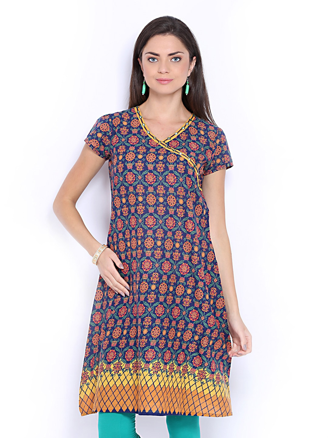 Lifestyle Melange By Lifestyle Women Navy & Orange Printed Kurta (Multicolor)