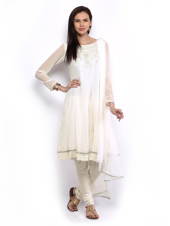 Melange by Lifestyle Women Off-White Churidar Kurta with Dupatta (multicolor)