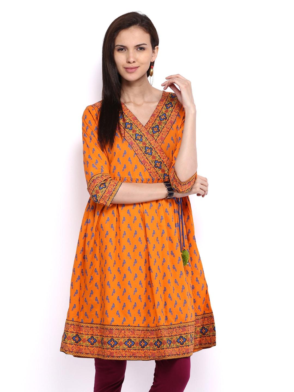 Lifestyle Melange By Lifestyle Women Orange Printed Angrakha Kurta