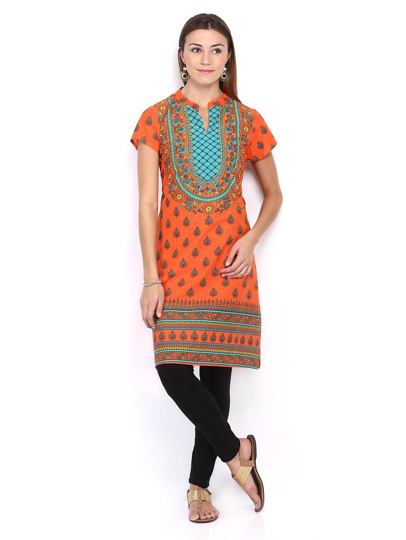 Lifestyle Melange By Lifestyle Women Orange Printed Kurta
