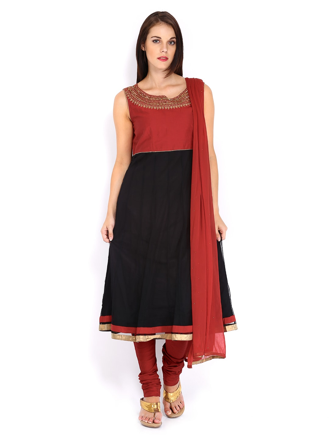 Lifestyle Melange By Lifestyle Women Red & Black Anarkali Churidar Kurta With Dupatta (Multicolor)