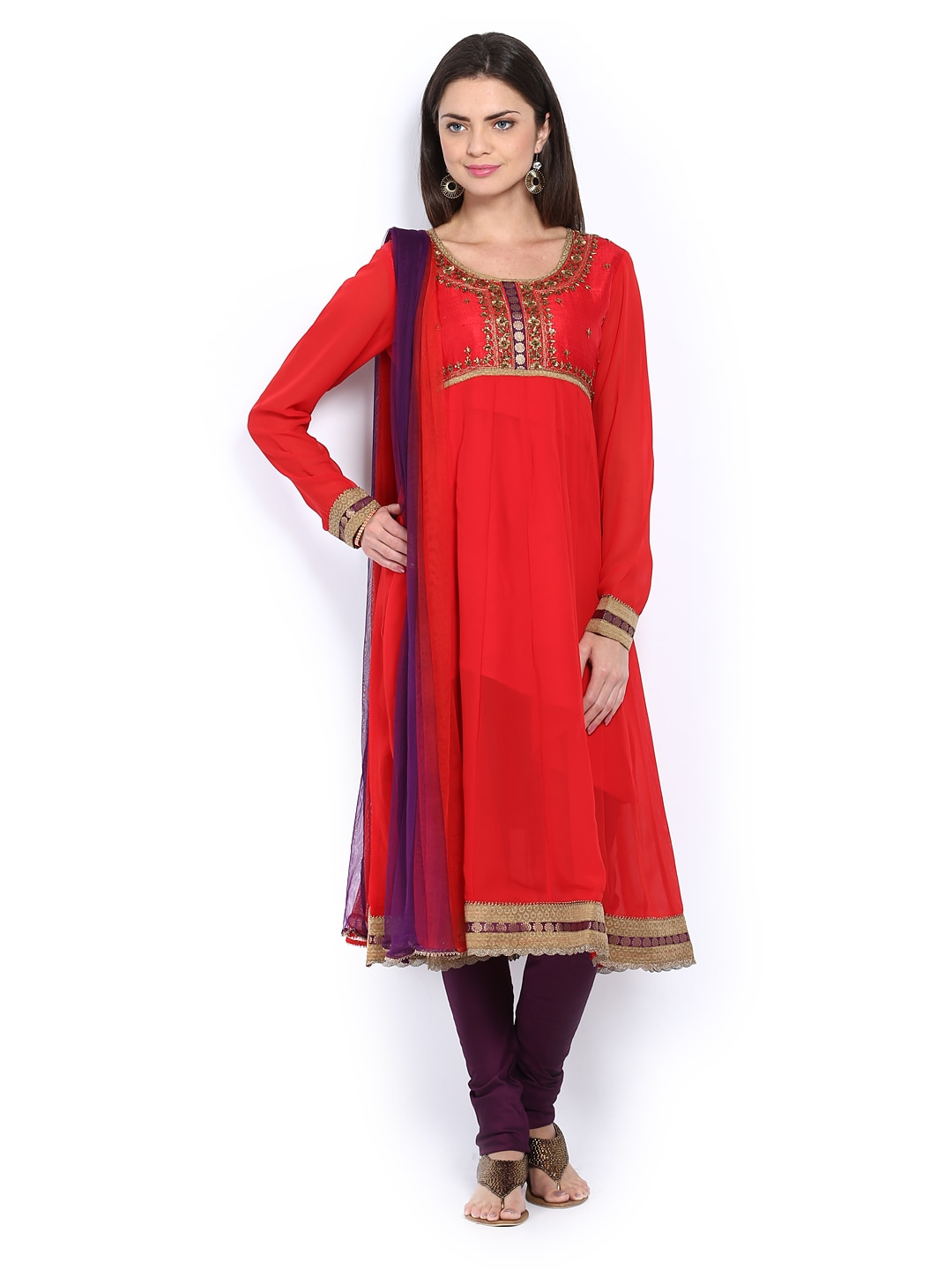 Lifestyle Melange By Lifestyle Women Red & Dark Purple Anarkali Churidar Kurta With Dupatta (Violet)