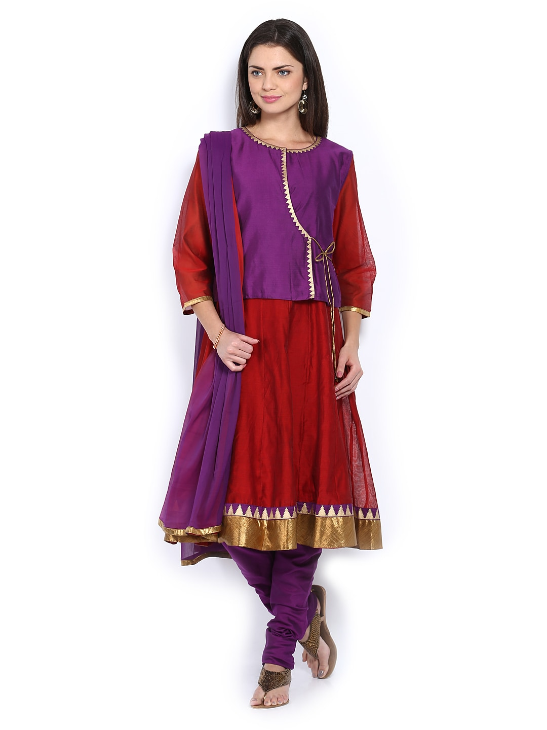 Lifestyle Melange By Lifestyle Women Red & Purple Anarkali Churidar Kurta With Dupatta (Multicolor)