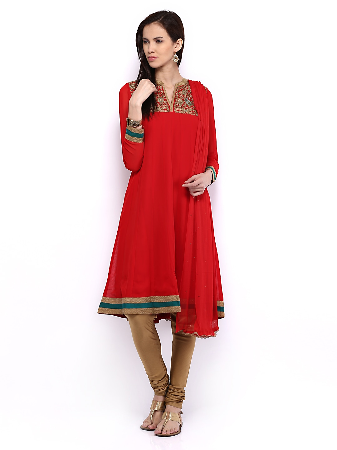 Lifestyle Melange By Lifestyle Women Red & Brown Anarkali Churidar Kurta With Dupatta (Multicolor)