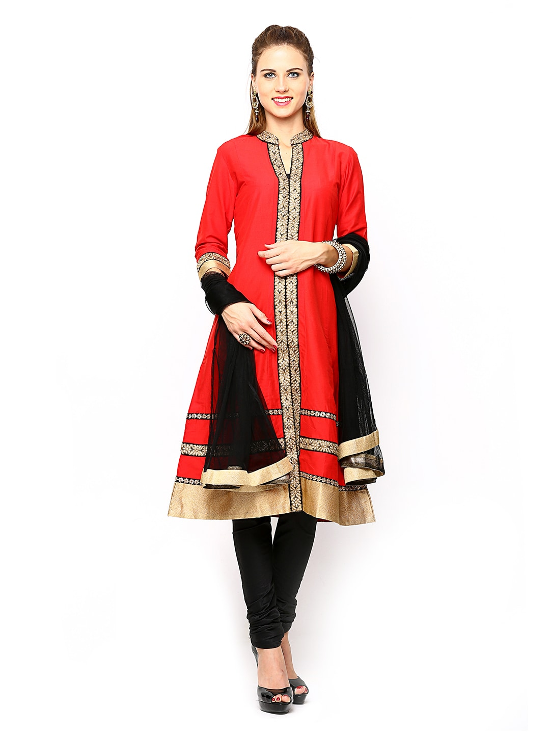 Lifestyle Melange By Lifestyle Women Red & Black Churidar Kurta With Dupatta (Multicolor)