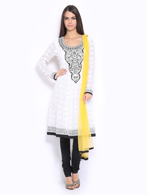 Lifestyle Melange By Lifestyle Women White & Black Embroidered Churidar Kurta With Dupatta (Multicolor)
