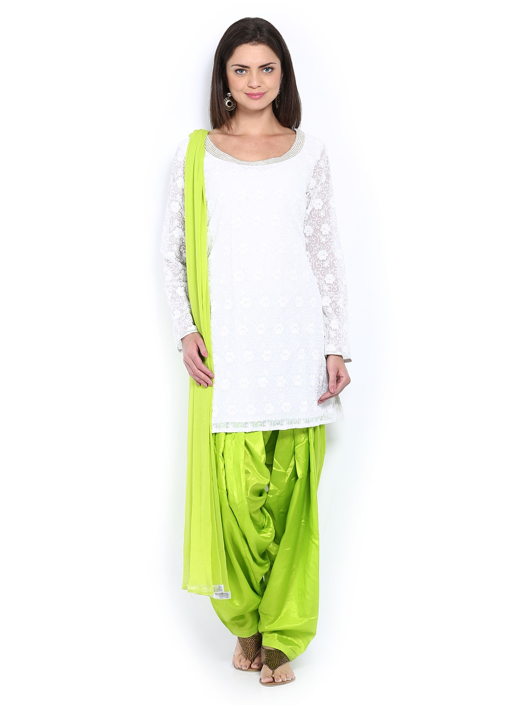 Lifestyle Melange By Lifestyle Women White & Green Salwar Kurta With Dupatta (Multicolor)