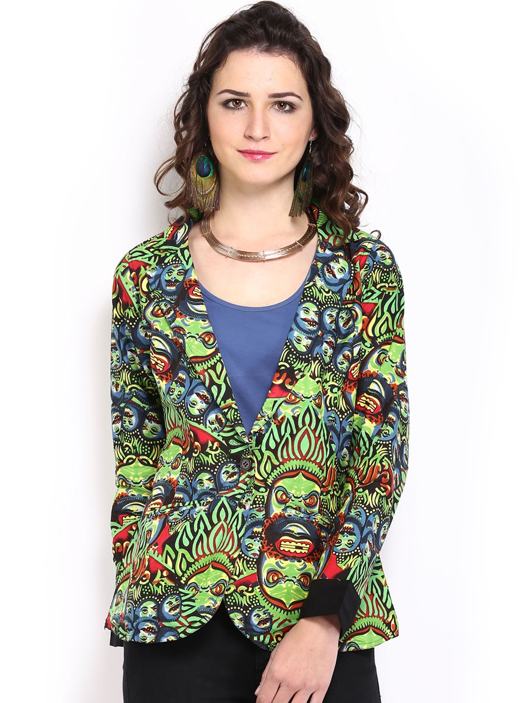 Mirage Women Multicoloured Printed Jacket