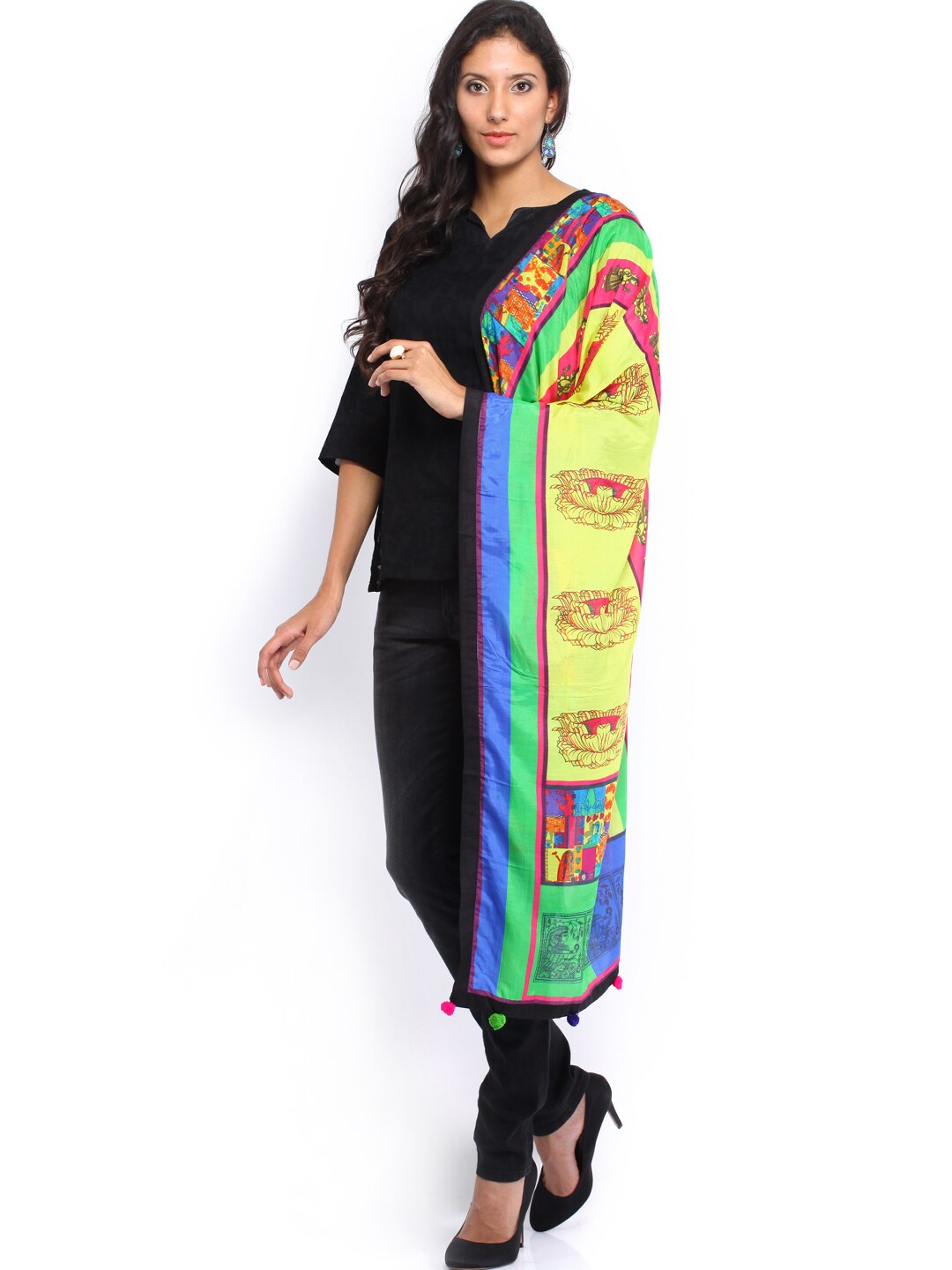 Mirage Women Multicoloured Printed Silk Stole