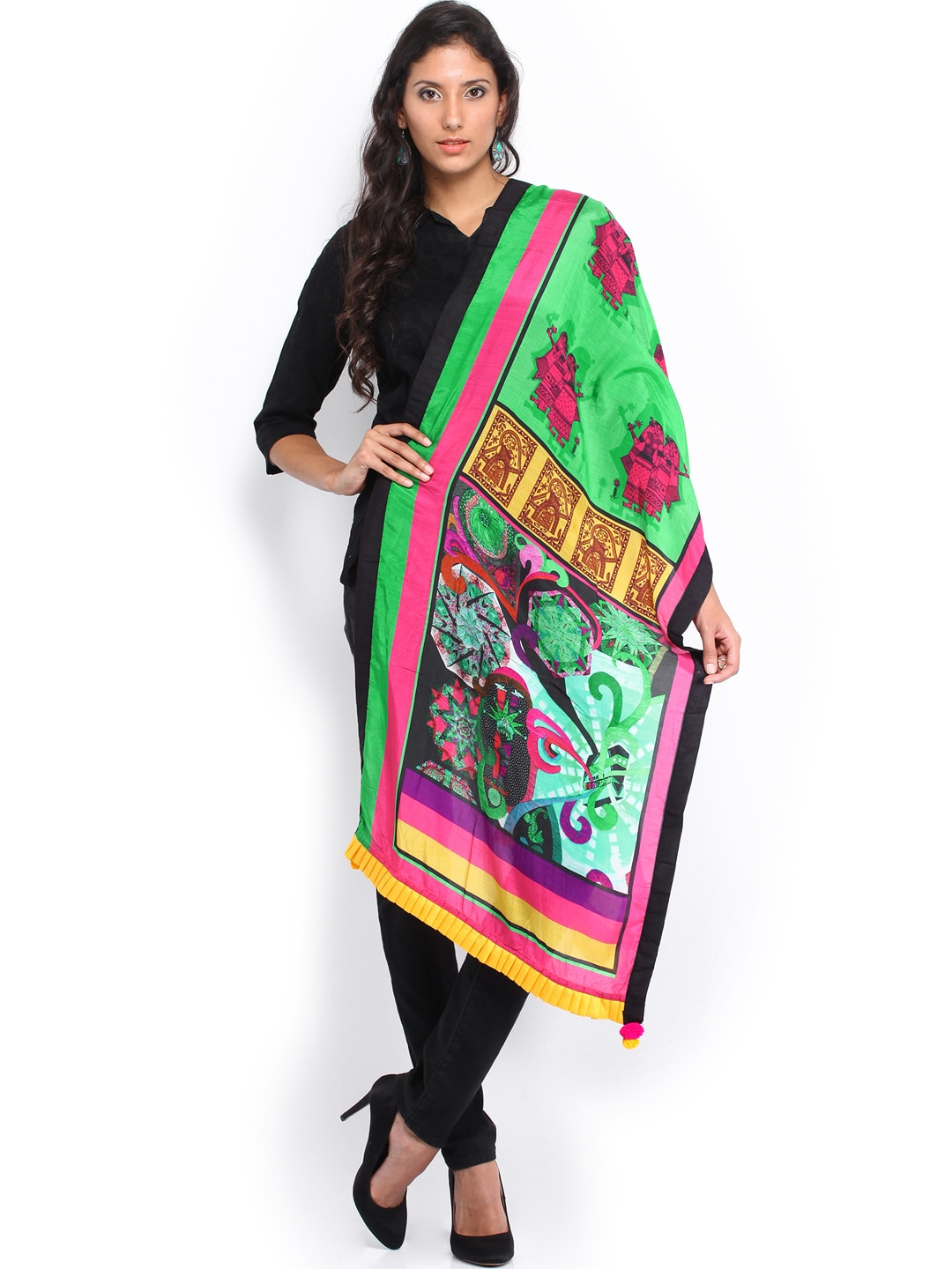 Mirage Women Multicoloured Silk Printed Stole