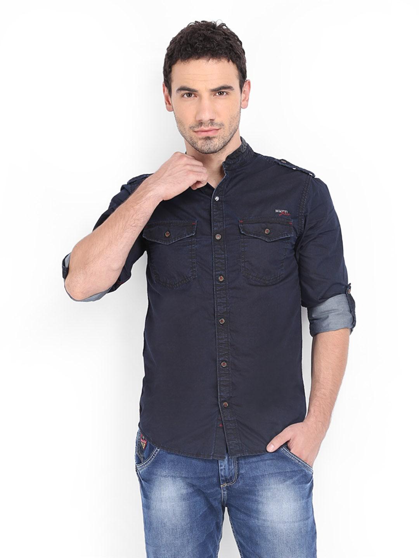 Buy Mufti Men Navy Slim Fit Casual Shirt - 320 - Apparel For Men - 509507